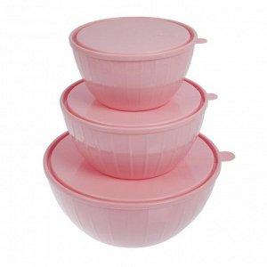 Набор салатников с крышками Fiesta, 3 шт: 5 л, 2,8 л; 1,7 л, цвет МИКС
