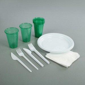 Набор одноразовой посуды на 6 персон «Пикничок», цвет МИКС