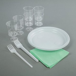 Набор одноразовой посуды «Праздничный», 6 персон, цвет МИКС