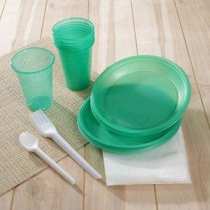 Набор одноразовой посуды «Премиум», 6 персон, цвет МИКС