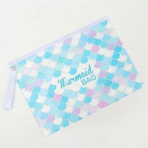 Косметичка для купальника, отдел на молнии, цвет белый / голубой
