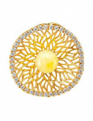 Изысканный кулон из золочённого серебра с цирконами и янтарём «Венера», 710208278