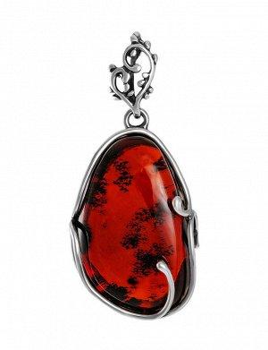 Крупная красивая подвеска из серебра и вишнёвого янтаря «Риальто», 904504375