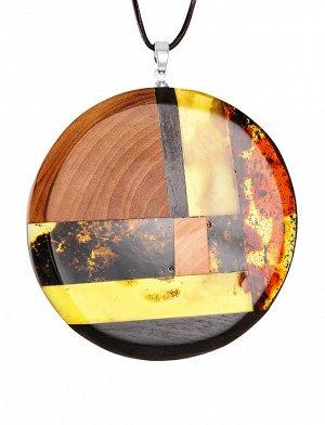 Крупный круглый кулон ручной работы из натурального янтаря и дерева «Индонезия», 904503186