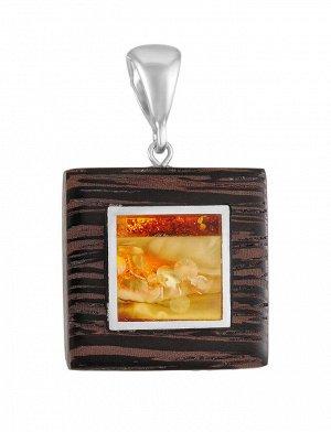 Яркая подвеска «Индонезия» из натурального балтийского янтаря и дерева, 904502103