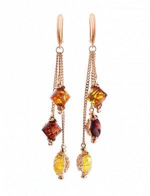Изящные серьги из позолоченного серебра и цельного янтаря «Касабланка», 810105283