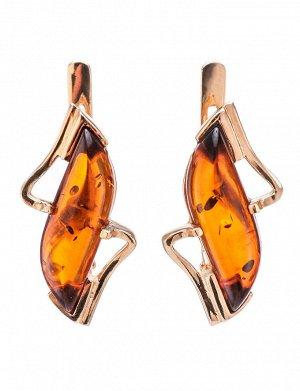 Золотые серьги со вставками из натурального балтийского янтаря коньячного цвета «Веста», 606408169