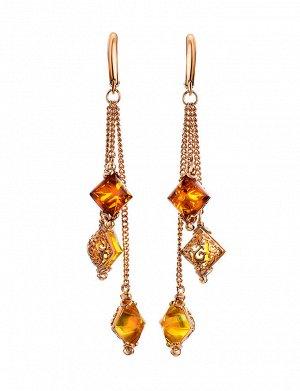 Изысканные удлинённые серьги с янтарём двух цветов «Касабланка», 810104243