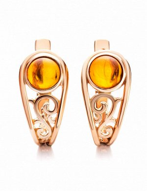 Изящные золотые серьги с натуральным коньячным янтарём «Шахерезада», 906408435