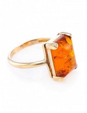 Кольцо из позолоченного серебра со вставкой из натурального балтийского янтаря «Прямоугольник коньячный», 610008200