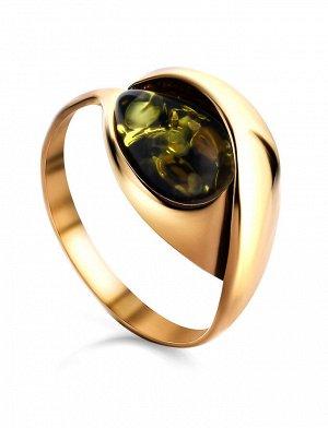 Яркое кольцо из золоченного серебра с янтарной вставкой «Пион», 810004152