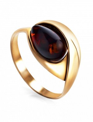 Нежное кольцо из золоченного серебра с натуральным вишнёвым янтарём «Пион», 810004156