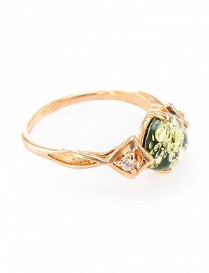 Нежное кольцо из золочённого серебра с янтарём зелёного цвета «Самбия», 610008214