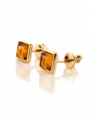 Золотые серьги-пусеты «Квадрат» с натуральным коньячным янтарем, 506412411