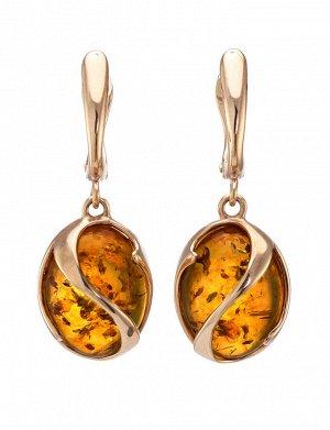 Красивые элегантные серьги из золота с янтарными вставками «Европа», 606408005
