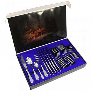 """Набор столовых приборов из нержавеющей стали """"Посольский"""" 24 предмета: вилка 20см - 6шт, ложка 20см - 6шт, ложка чайная 14,5см - 6шт, нож 24см - 6шт, подарочная упаковка (Россия)"""