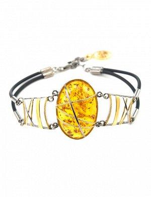 Оригинальный браслет «Меридиан» из натурального янтаря, золочёного серебра и каучука, 607712022