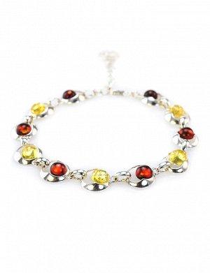 Эффектный браслет из серебра со вставками из натурального балтийского янтаря лимонного и вишнёвого цветов «Орион», 607706144