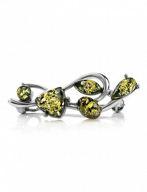 Брошь из серебра, украшенная натуральным янтарём зелёного цвета «Ламбада», 707907269
