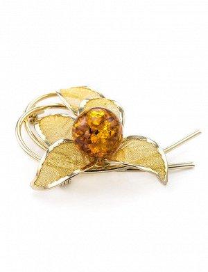 Нежная брошь в позолоте, украшенная янтарём вишнёвого цвета Beoluna, 707904141