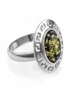 Кольцо из серебра и натурального балтийского зелёного янтаря «Эллада», 606308153