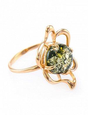 Кольцо из серебра с позолотой и вставкой из янтаря зелёного цвета «Юнона», 610008187