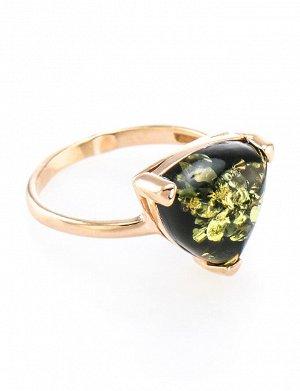 Яркое кольцо из серебра в позолоте с натуральным янтарём зелёного цвета «Треугольник», 610008208