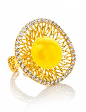 Нарядное вечернее кольцо «Венера» из золочённого серебра и янтаря, 810004305