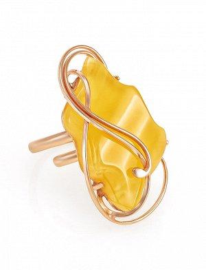 Красивое кольцо из натурального янтаря и золочённого серебра «Риальто», 810005034