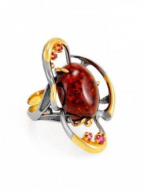 Крупное вечернее кольцо «Помпадур» с натуральным коньячным янтарём, 810012069