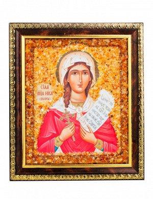 Именная икона, украшенная натуральным янтарём «Святая мученица Ника (Виктория)», 906904436