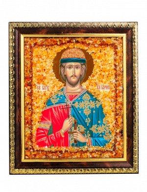 Именная икона, украшенная натуральным янтарём «Святой благоверный князь Борис», 906904453