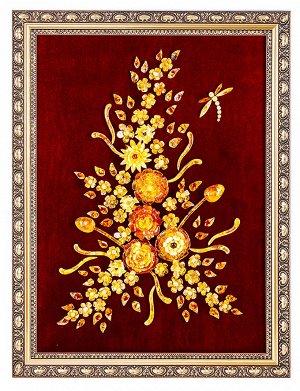 Яркая картина из натурального балтийского янтаря на вишнёвом бархате «Букет со стрекозой», 908803148
