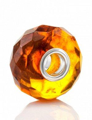 Бусина-шарм для модульного браслета из натурального балтийского коньячного янтаря «Алмазная грань», 609410019
