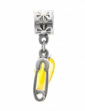 Подвеска-шарм с натуральным лимонным янтарём «Булавка», 709403204