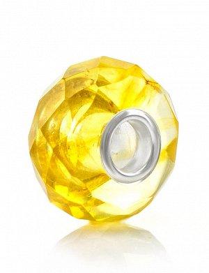 Яркий шарм из натурального балтийского янтаря лимонного цвета «Алмазная грань», 709404061