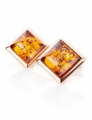 Классические позолоченные запонки с натуральным янтарём «Квадрат»