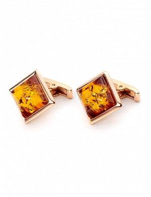 Классические запонки из золота с натуральным янтарём «Квадрат»
