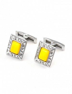 Яркие стильные запонки из серебра и натурального медового янтаря «Итака»