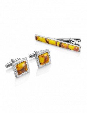Набор: квадратные запонки и зажим для галстука с медовым янтарем