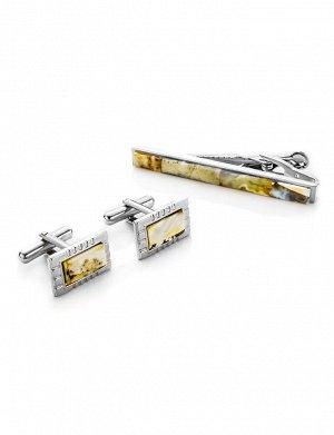 Прямоугольные запонки и зажим для галстука со светлым янтарём в футляре