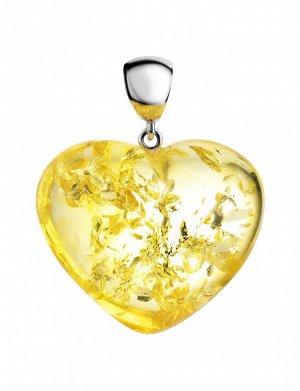 Яркое янтарное сердце из искрящегося лимонного янтаря, 905403151