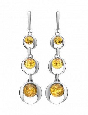 Длинные серьги из серебра со вставками натурального лимонного янтаря «Орион», 606510047