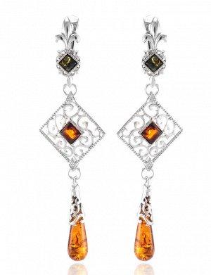 Роскошные ажурные серьги, украшенные вставками из натурального янтаря «Арабеска», 606511206