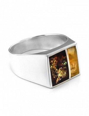 Яркий перстень из серебра со вставками из натурального янтаря London, 706304025
