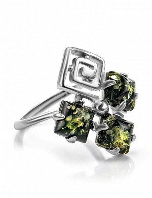 Оригинальное кольцо из серебра с натуральным янтарём зелёного цвета «Вернисаж», 706307276
