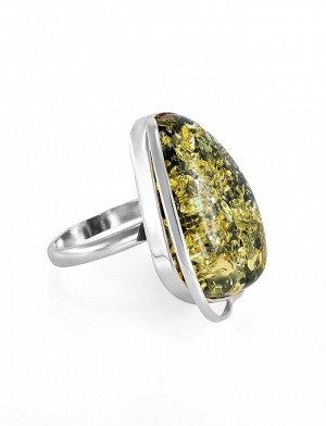 Изысканное кольцо из серебра и натурального янтаря зелёного цвета «Лагуна», 706311139
