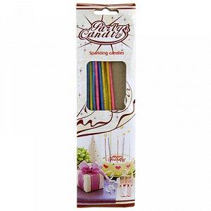 Свечи для торта 16см, набор 18 штук, д2,5мм, тонкие, цветные, пламя с искорками, в коробке (Китай)