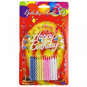 """Свечи для торта 7см """"С днем рождения"""" набор 12 штук, цветные, пластмассовые подставки, в блистере (Китай)"""