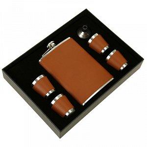 Набор подарочный мужской 6 предметов: фляга 250мл 9,5х2см h15см; стопка 30мл д3,7см h4см - 4 штуки; воронка, нержавеющая сталь в оплетке из кожзама, коричневый, в подарочной коробке (Китай)